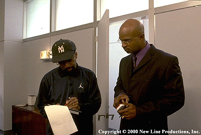 Spike Lee  directs Damon Wayans on the set of New Line's Bamboozled - 2000
