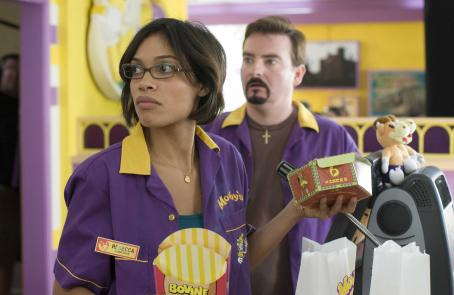Brian O'Halloran - Rosario Dawson (Becky Scott) and Brian O'Halloran (Dante Hicks) star in Kevin Smith's Clerk II. Photo courtesy of The Weinstein Company/Darren Michaels, 2006.