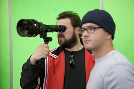 Kevin Smith , director and star of and David Klein, director of photography of Clerks II on set. Photo courtesy of The Weinstein Company/ Darren Michaels, 2006.
