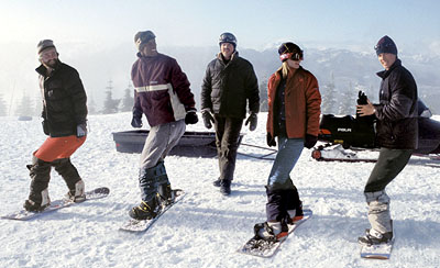 Zach Galifianakis , Flex Alexander, David Denman, A.J. Cook and Jason London in Touchstone's Out Cold - 2001
