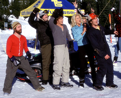 Zach Galifianakis , David Denman, Jason London, Victoria Silvstedt and Derek Hamilton in Touchstone's Out Cold - 2001