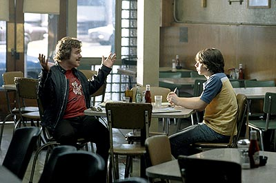 Philip Seymour Hoffman Veteran rock writer Lester Bangs (, left) gives advice to neophyte reporter William Miller (Patrick Fugit) about being a rock journalist in Dreamworks' Almost Famous - 2000