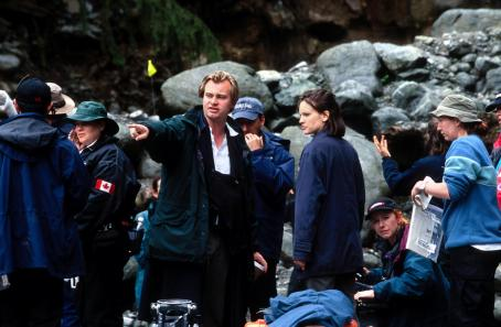 Christopher Nolan  and Hilary Swank on the set of Warner Brothers' Insomnia - 2002