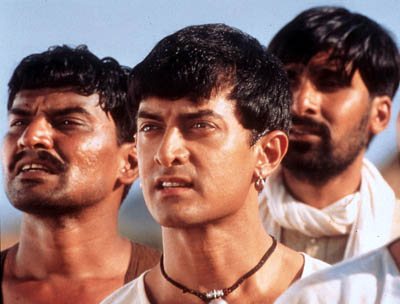 Aamir Khan Daya Shankar Padey,  and Yashpal Sharma in Sony Pictures Classics' Lagaan - 2002
