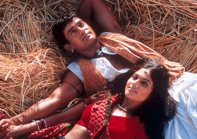 Aamir Khan  and Gracy Singh in Sony Pictures Classics' Lagaan - 2002