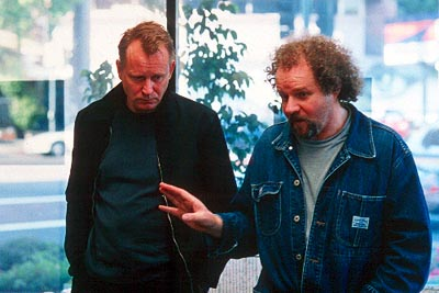 Timecode - Stellan Skarsgard and director Mike Figgis in Screen Gems' Time Code - 3/2000