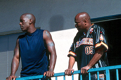 Baby Boy Tyrese Gibson and John Singleton on the set of Columbia's  - 2001
