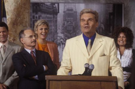 Fred Willard (L-r) Michael Mantell, Jane Lynch,  and Jennifer Collidge in Castle Rock Entertainments documentary-style comedy 'A Mighty Wind,' distributed by Warner Bros. Pictures.