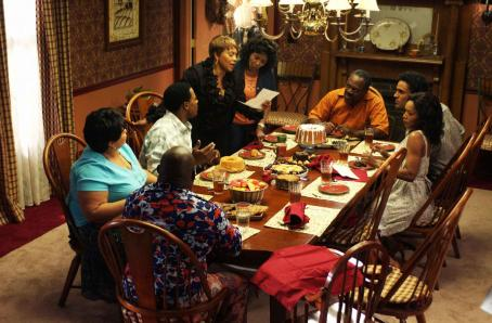 Rick Fox A scene from TYLER PERRY'S MEET THE BROWNS featuring (clockwise bottom left) Mr. Brown (David Mann), Cora Brown (Tamela Mann), Will (Lamman Rucker), Vera (Jenifer Lewis), Sarah (Margaret Avery), L.B. (Frankie Faison), Harry () and Brenda (Ange