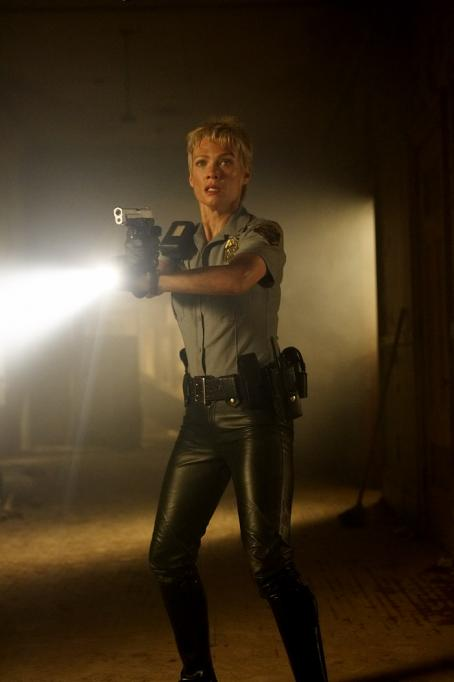 Laurie Holden  as Cybil Bennet in horror movie Silent Hill - 2006. Distributed by Sony Pictures.