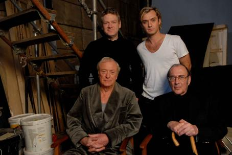 Sleuth Clockwise from top left: Director Kenneth Branagh, Jude Law, Michael Caine and Screenwriter Harold Pinter. Photo by David Appleby © 2007  Productions LTD, courtesy Sony Pictures Classics. All Rights Reserved.