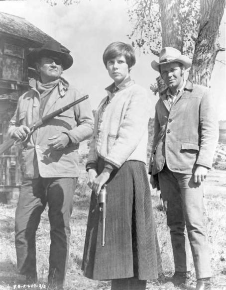 Kim Darby John Wayne (Left),  (Center) in True Grit - 1969