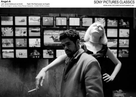 Angela's Eyes Left: Jamel Debbouze as André; Right: Rie Rasmussen as Angel A. Photo from Angel-A, courtesy of Sony Pictures Classics Inc. © 2006 CTB Film Company.