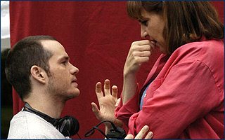 Peter Paige  and Kathy Najimy on the set of Say Uncle - 2006