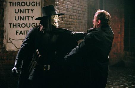"Hugo Weaving as V and Alister Mazzotti as Baldy Fingerman in Warner Bros. Pictures' and Virtual Studios' action thriller ""V for Vendetta,"" distributed by Warner Bros. Pictures. The film stars Natalie Portman. Photo by David Appleby"