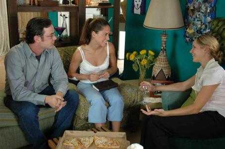 Colin Hanks  as Doug, Ana Claudia Talancón as Amy and Jordana Spiro as Jen in ALONE WITH HER directed by Eric Nicholas. Photo credit: Buzz Harris, Rachel Engelman. An IFC First Take release.