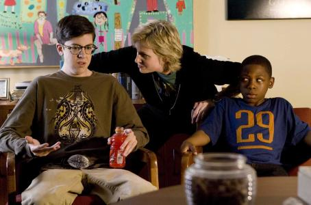 Jane Lynch Christopher Mintz-Plasse,  and Bobb'e J. Thompson in the scene of Universal Pictures' Role Models.