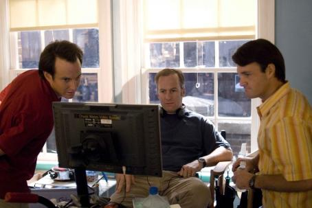 Bob Odenkirk (l to r) Will Arnett, director  and Will Forte on the set of Revolution Studios' comedy THE BROTHERS SOLOMON, a TriStar Pictures release. Photo Credit: Merrick Morton