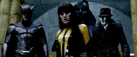 Jackie Earle Haley PATRICK WILSON as Nite Owl II, MALIN AKERMAN as Silk Spectre II and JACKIE EARLE HALEY as Rorschach in Warner Bros. Pictures' and Paramount Pictures' action/sci-fi 'Watchmen.' Photo courtesy of Warner Bros. Pictures