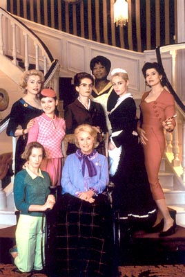 Isabelle Huppert Catherine Deneuve (far left), Virginie Ledoyen (left), Ludivine Sagnier (bottom left), Danielle Darrieux (bottom center),  (middle center), Firmine Richard (top center), Emmanuelle Beart (right) and Fanny Ardant (far right) in Focus Films&