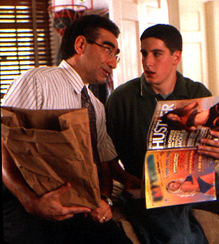 American Pie After the infamous pie incident, Eugene Levy decides to have THE talk with Jason Biggs in Universal's  - 1999