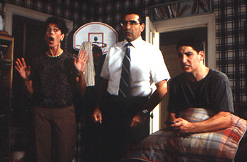Eugene Levy Jason Biggs is caught in an embarrassing moment by Molly Cheek and  in Universal's American Pie - 1999