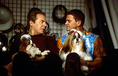 Best in Show In New York, professional handler Scott Donlan (John Michael Higgins, left) and his longtime partner, hair salon owner Stefan Vanderhoof (Michael McKean, right), happily anticipate the event as they feel that one of their Shih Tzus, Miss Agnes, stands a v