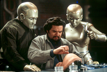 Oliver Platt Robin Williams and Kiersten Connelly watch  test his external modification designs in Touchstone's Bicentennial Man - 12/99