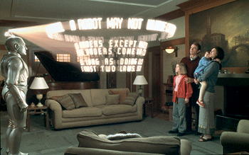 Hallie Kate Eisenberg Robin Williams displays a hologram of the laws of robotics to his new family - Lindze Letherman, Sam Neill,  and Wendy Crewson in Touchstone's Bicentennial Man - 12/99