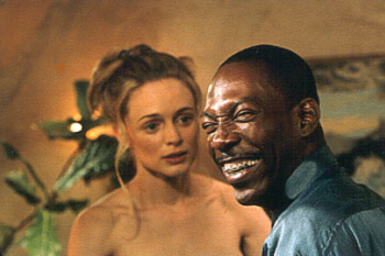 Bowfinger Heather Graham and Eddie Murphy prepare for the all important love scene in