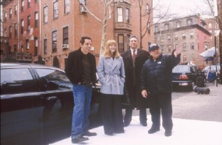 Duplex Ben Stiller, Drew Barrymore, Harvey Fierstein, and Danny DeVito on the set of