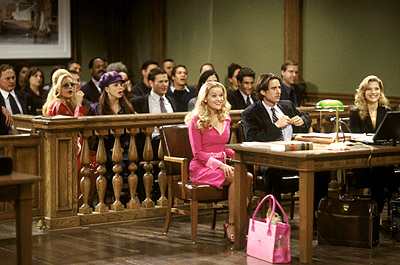 Victor Garber , Jessica Cauffiel, Alanna Ubach, Matthew Davis, Resse Witherspoon, Luke Wilson and Ali Larter in MGM's Legally Blonde - 2001