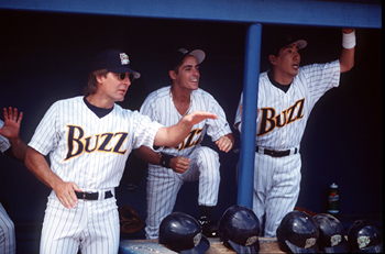Walton Goggins Scott Bakula,  and Takaaki Ishibashi in Warner Brothers' Major League: Back To The Minors - 1998