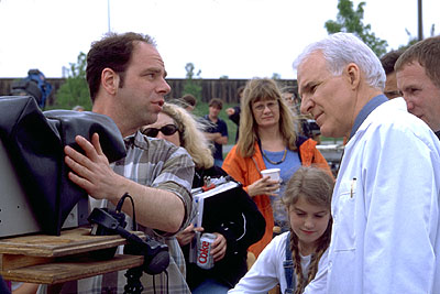 Novocaine Writer/director David Atkins and Steve Martin on the set of Artisan's  - 2001
