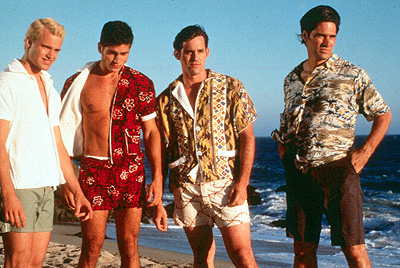 Psycho Beach Party Nick Cornish, Andrew Levitas, Nicholas Brendon and Thomas Gibson in Strand's  - 2000