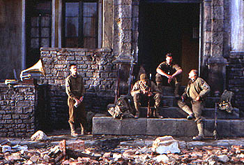 Saving Private Ryan Jeremy Davies, Adam Goldberg, Edward Burns and Tom Sizemore in Dreamworks'  - 7/98
