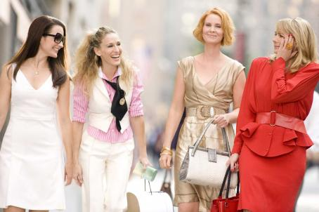 Samantha Jones (l to r) Kristin Davis stars as 'Charlotte York-Goldenblatt', Sarah Jessica Parker stars as 'Carrie Bradshaw', Cynthia Nixon stars as 'Miranda Hobbes' and Kim Cattrall stars as '' in New Line Cinema's upco