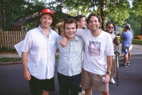 Peter Farrelly Bobby Farrelly, Jack Black and  on the set of 20th Century Fox's Shallow Hal - 2001