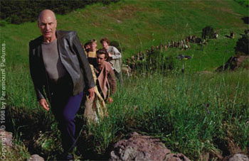 Patrick Stewart  as Captain Picard leading the exodus in Star Trek: Insurrection