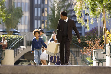 Jaden Smith Christopher () and Christopher Gardner (Will Smith) in Gabriele Muccino drama The Pursuit of Happyness - 2006