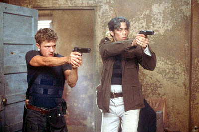 The Way of the Gun Longtime partners Parker (Ryan Phillippe) and Longbaugh (Benicio Del Toro) in Artisan's The Way Of The Gun - 2000