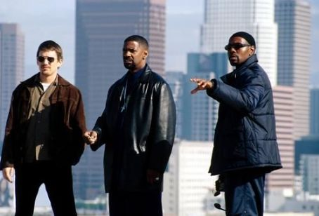 Training Day Ethan Hawke, Denzel Washington and director Antoine Fuqua on the set of Warner Brothers'  - 2001