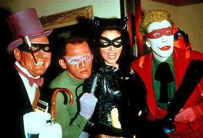 Burgess Meredith  as The Penguin, Frank Gorshin as The Riddler, Lee Meriwether as Catwoman and Cesar Romero as The Joker in 20th Century Fox's Batman: The Movie - 1966