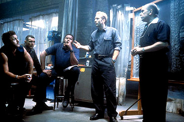 Vinnie Jones Reluctantly returning to his roots to mastermind the biggest car heist of his infamous career, Randall 'Memphis' Raines (Nicolas Cage, second from right), lays out the plan to boost 50 cars in one night with (left to right) Tumbler (Scott Caan), t