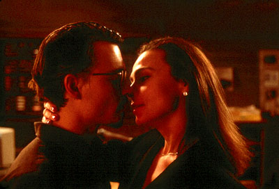 Lena Olin Johnny Depp as Corso and  as Liana in Artisan's The Ninth Gate - 2000