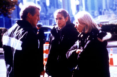 Jamey Sheridan , Cindy Crawford and director/screenwriter Linda Yellen on the set of Gabriel Film Group's The Simian Line - 2001