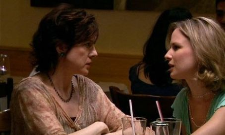 A Four Letter Word Virginia Bryan as Marilyn and Allison Lane as Trisha eating out.
