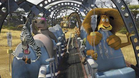 Melman (Left to right) The New Yorkers— Marty the zebra (CHRIS ROCK), Gloria the hippo (JADA PINKETT SMITH),  the giraffe (DAVID SCHWIMMER) and Alex the lion (BEN STILLER)—find themselves and the remnants of their plane crash landed on the vast