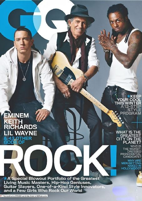 Eminem, Keith Richards, Lil' Wayne - GQ Magazine Cover [United States] (November 2011)