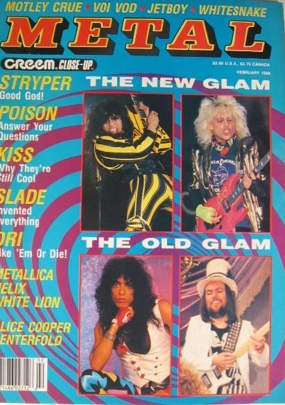 C.C. Deville, Paul Stanley - Creem Close-Up Metal Magazine Cover [United States] (February 1988)